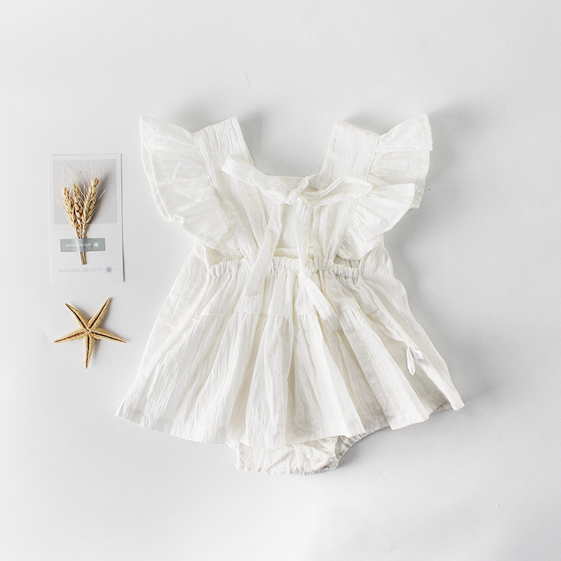 2019 Summer New Arrival Newborn Baby Girls Ruffle Bowknot Backless   Romper   Backcross Jumpsuit Outfits Sunsuit Baby Clothes Outfit