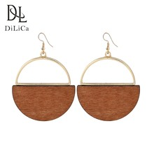DiLiCa Vintage Wooden Earrings for Woman Handmade Round Dangle Earrings Wood Drop Earring Women 2018 Bohemian Fashion Jewelry(China)