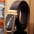 2017 hot designer belt men high quality luxury fiber leather gold jaguar 140 cm 150 160 big size plus automatic buckle car style