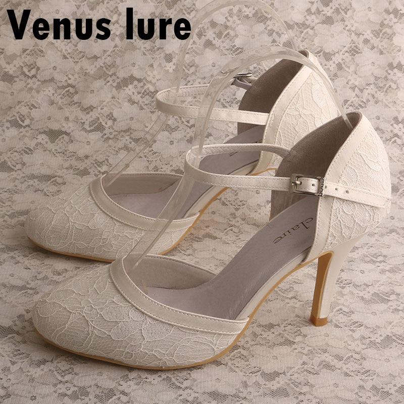De Sans Lacets Haut Mariage Ivory Orteil Vénus Leurre Fermé Cravate Chaussures En Mariée Ivoire Dentelle Talon lFJuTK1c35