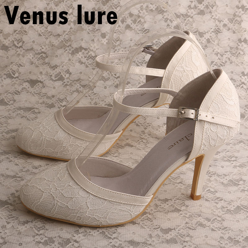 Venus Lure Ivory Lace Shoes With High Heel Wedding Bridal Closed Toe No Tie Shoe Laces
