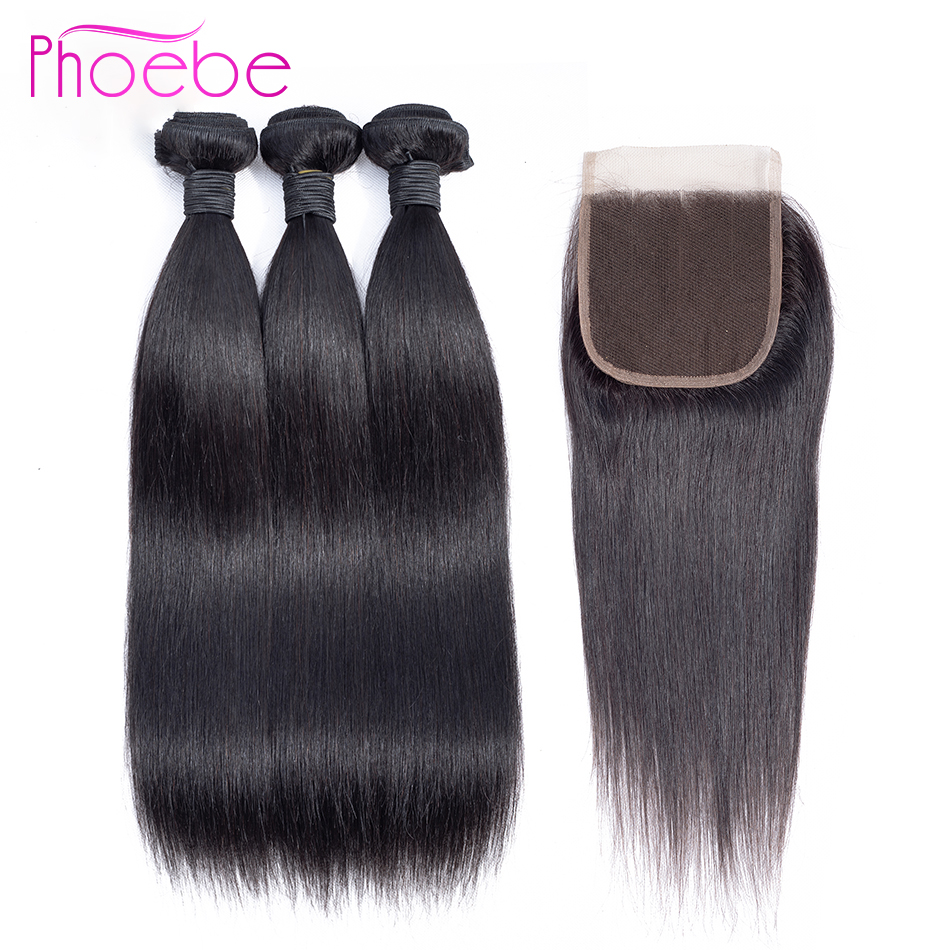 Phoebe Hair Straight Peruvian 100 Human Hair 3 Bundles With 4 4 Lace Closure Non Remy