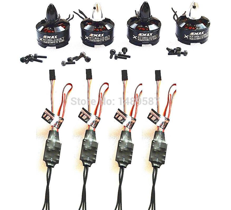 4Pcs Hot Sale 1806 2280KV Brushless Motor + 4Pcs Simonk/blhehi 12A ESC for F330 ZMR250 H250 Quadcopter