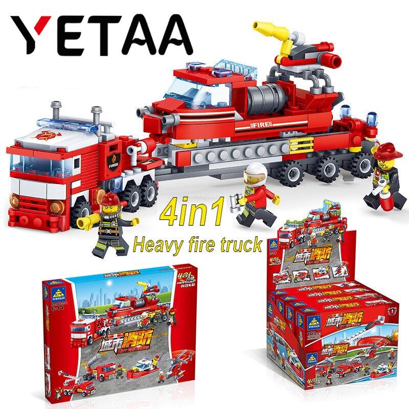 Yetaa Spielzeug Für Kinder Feuerwehr Blöcke Legofigure Spielzeug Ziegel Geschenke Hubschrauber Boot Feuerwehrmann Minecraft Bausteine
