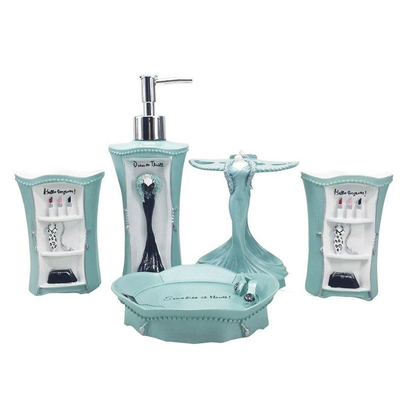 5 pièces/ensemble rose robe formelle série douce salle de bains fournitures lavage ensemble créatif résine salle de bains accessoires ensemble cadeau de mariage