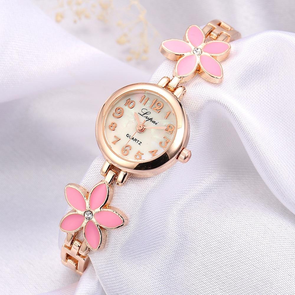 Women Watch Flower Rose Gold Bracelet Watches Women Fashion Casual Quartz Watch Rhinestone Wristwatches Girls Bangle reloj mujer