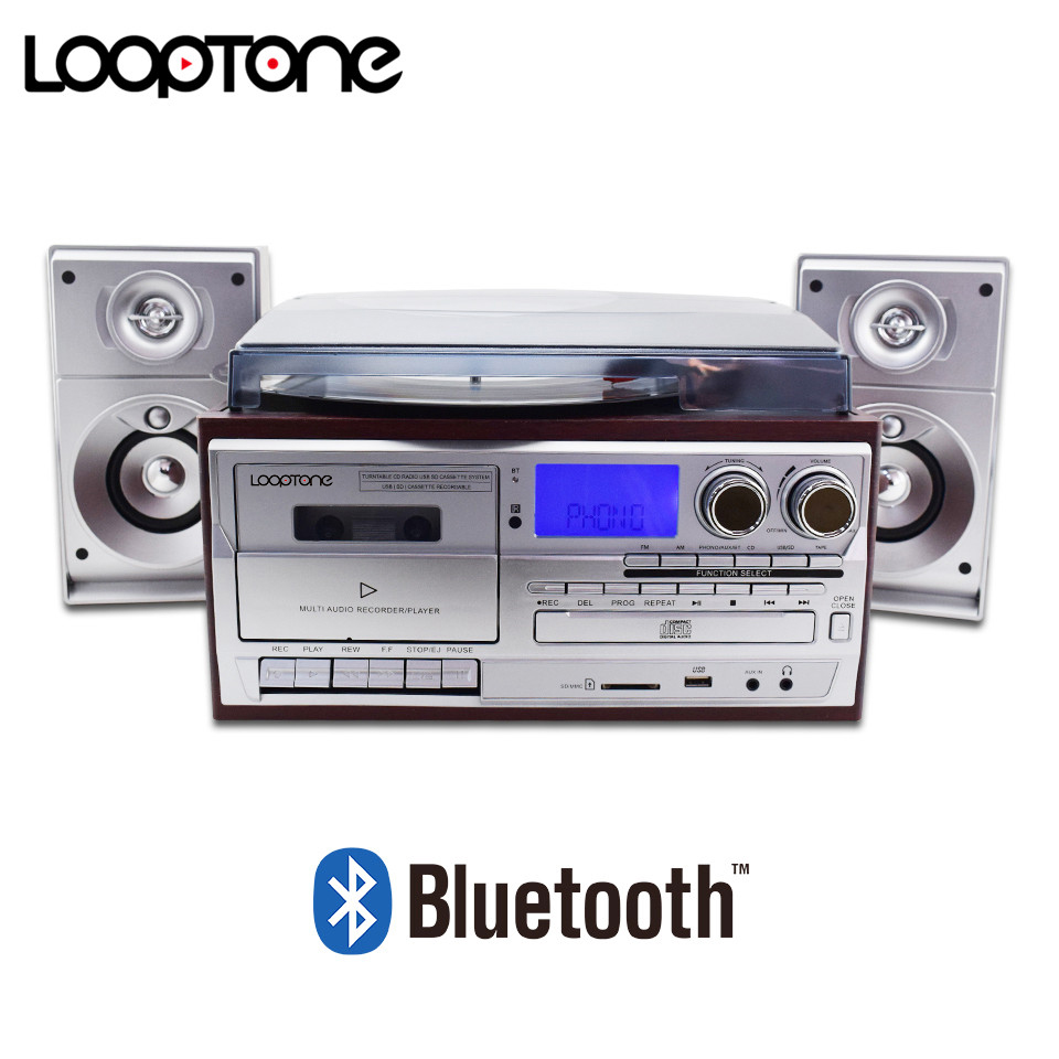 LoopTone Bluetooth Turntable Player 3 Speed Vinyl Record Player+Cassette Player+MP3 Player+CD Player+USB Recorder+AM/FM Radio