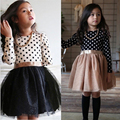 Fashion Knot Bow Long Sleeve Chrinstening Dress For Princess Girls Polka Dot Bow Pattern Kids Girls Dress Cloth