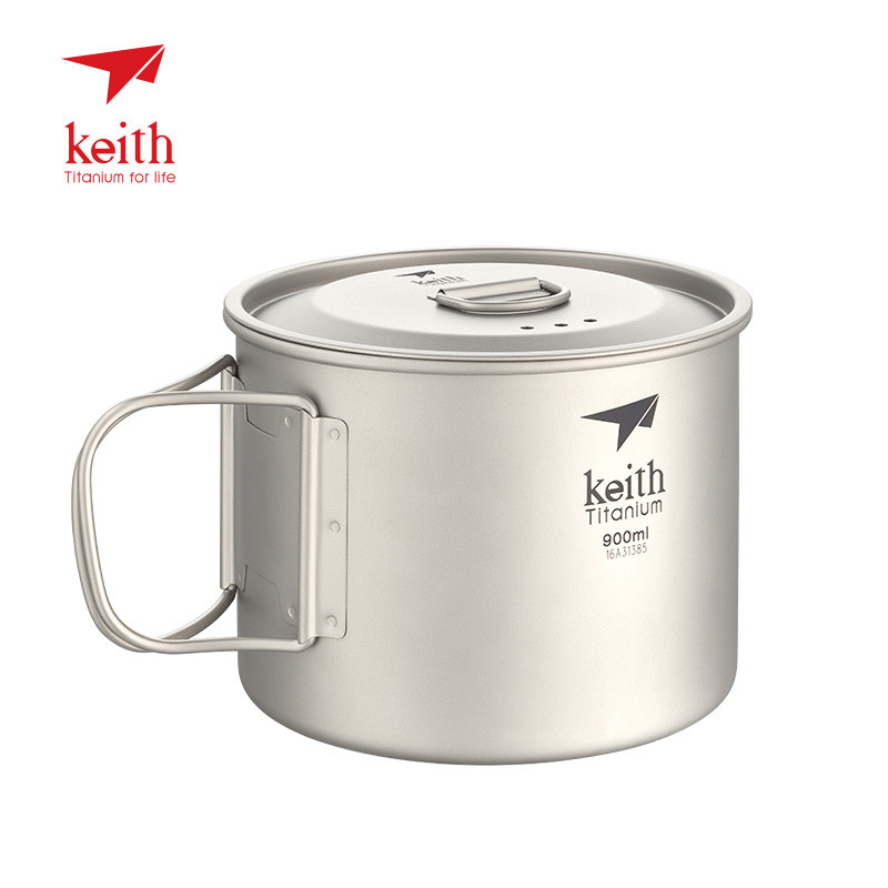Keith armoured titanium cup Ti3209 pure titanium cup 900 ml titanium cup individual bubble noodle cup