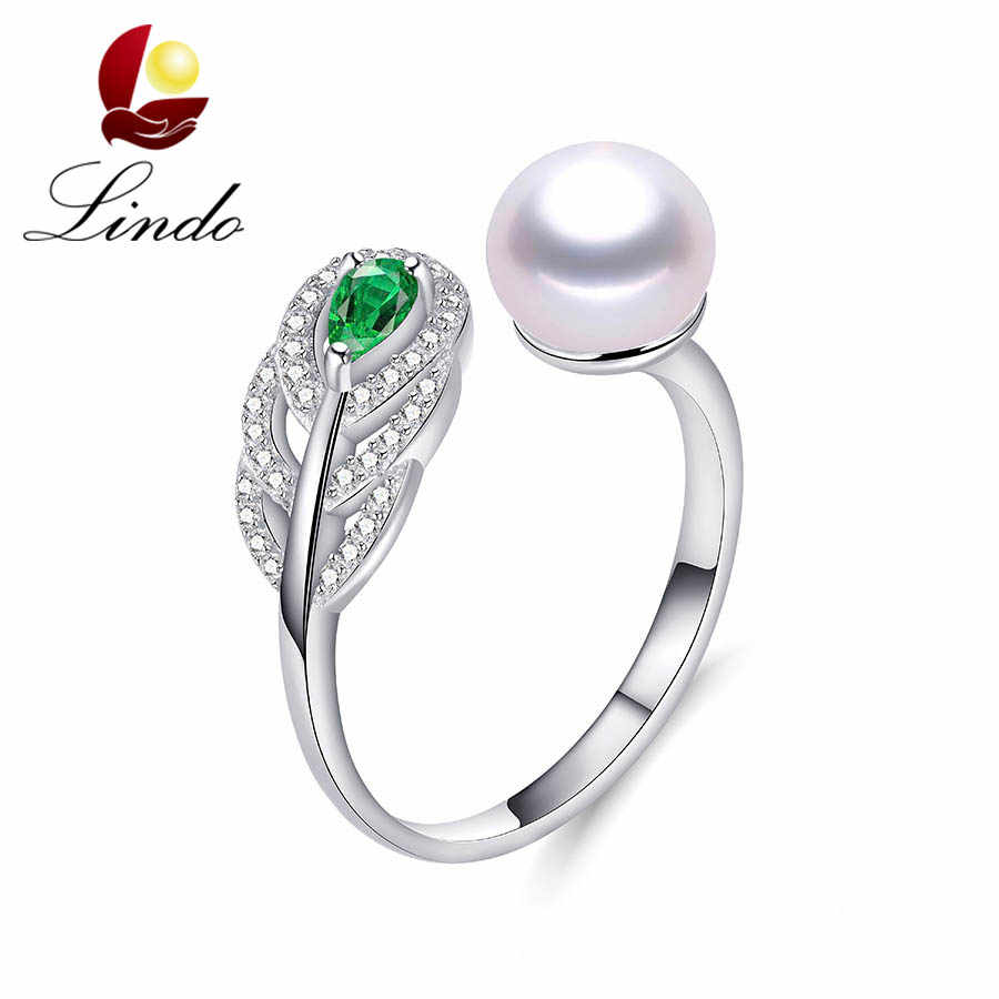 Lindo คุณภาพดีเงิน 925 แหวนผู้หญิงเครื่องประดับมุกน้ำจืดธรรมชาติสีเขียวคริสตัลปรับแหวน