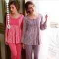 Entrega gratuita 100% Algodão Pijamas para As Mulheres Sleepwear Conjuntos de Pijama Pijama De Alta Qualidade Da Forma Das Mulheres das Mulheres Mulheres de Roupas Em Casa