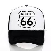 Summer Trucker Caps ROUTE 66 Baseball cap Unisex Adult Mesh Net Hat for Men