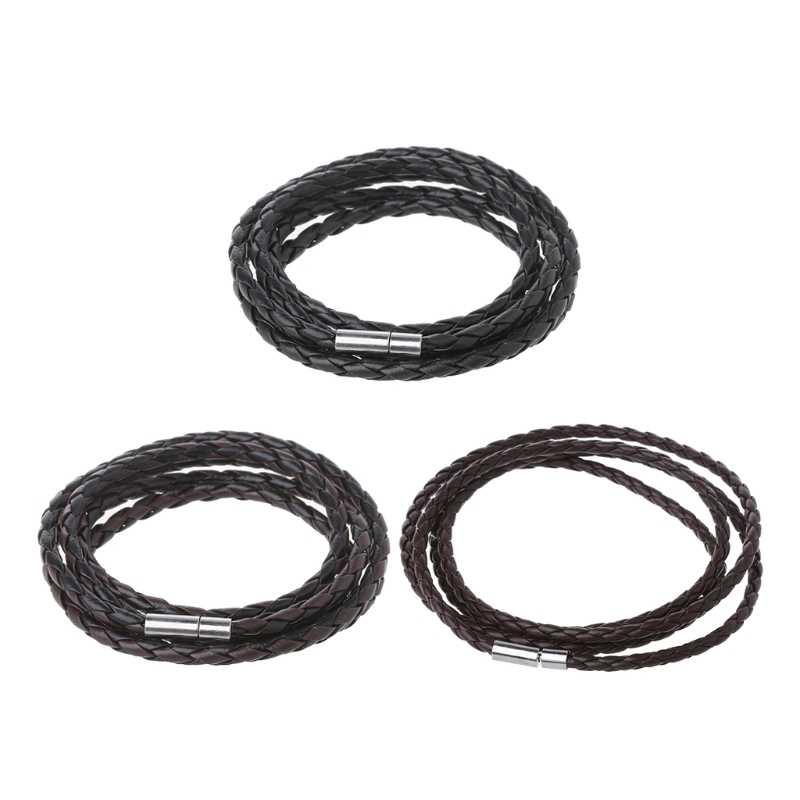 Jakości wielowarstwowa Strand Wrap mężczyźni czarna skórzana bransoletka z zapięciem magnetycznym