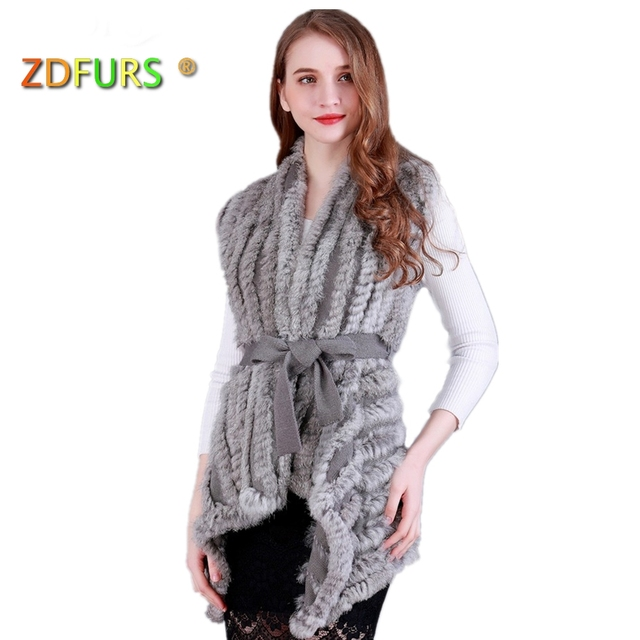 ZDFURS * Women Genuine Knitted Rabbit Fur Vests with belt sweater Waistcoat wholesale drop shipping