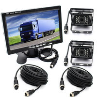 DC 12 24V HD 800*480 7 Inch Stand On Board TFT LCD Color Monitor with Waterproof 2PCS IR LED Cameras NO Parking Lines