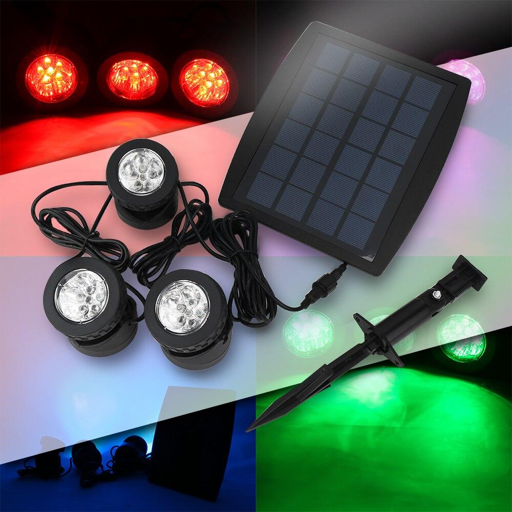 LED Solar Light 3 Lamps Waterproof IP68 18 leds White/RGB Energy Saving Flood Solar Outd ...