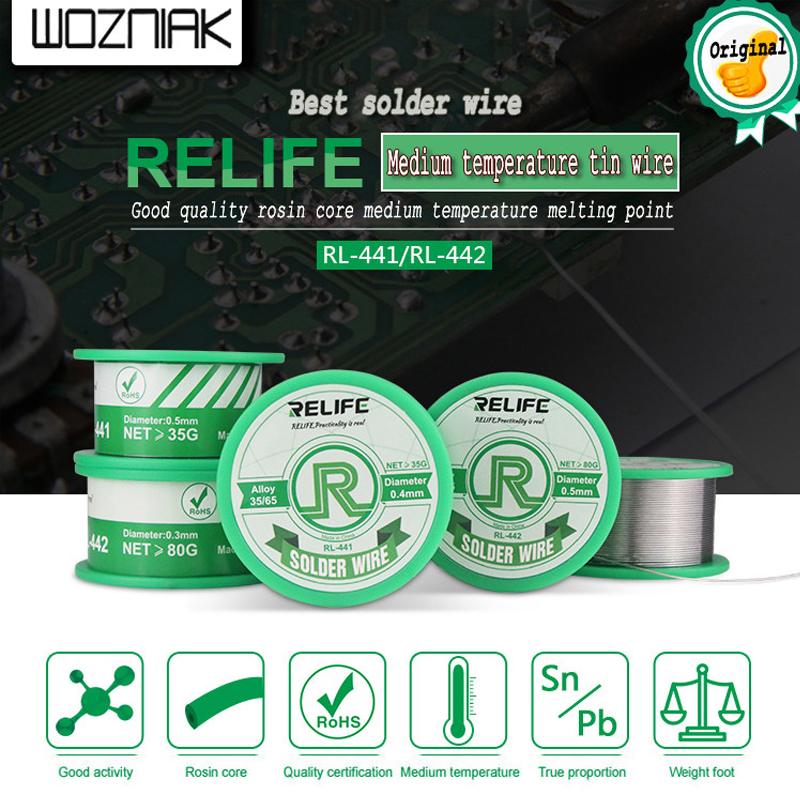Medium Temperature Active Solder Wire RL-441/442 Easy Solder With Lead Tin Bright Impurities Less Low Melting Point Sn35 / Pn65