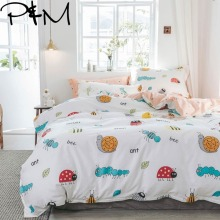 PAPA&MIMA Cartoon style Small insects print bedding sets cotton Twin Queen Size duvet cover bedsheet pillowcases drop shipping
