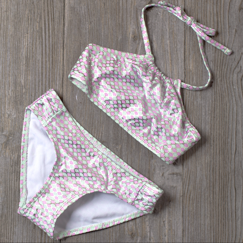 2019 Girls Swimsuit Two Piece Hot Stamping Children's Swimwear 4-16 Years Girls Beachwear Bathing Suit JX25