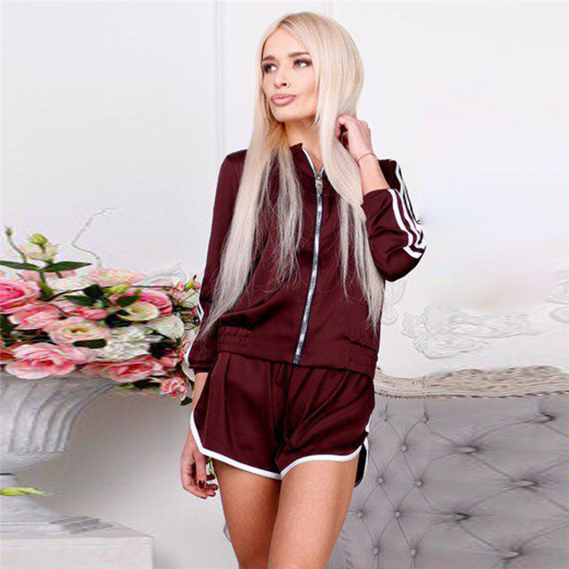 202aed913 2018 womens casual sweat suits Satin two piece set tracksuit for women  elegant top and shorts pants set fitness summer outfits