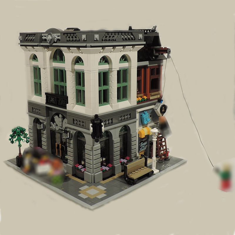 Building Blocks City Street 15001 2413Pcs Bank Model Compatible 10251 Toys For Children Bricks Lepin city street in blocks кукла bjd fl fairyland feeple moe60 celine bjd sd doll soom luts