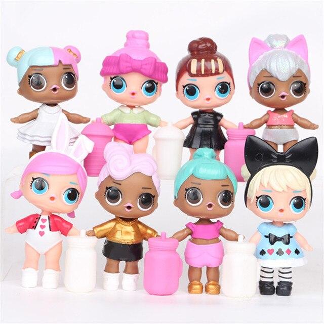 Новые 8-9 см 8 шт./компл. Boneca LOL кукла маленькая Игрушечные лошадки из аниме Куклы surpresa фигурку может воды спрей Игрушечные лошадки для детей Обувь для девочек