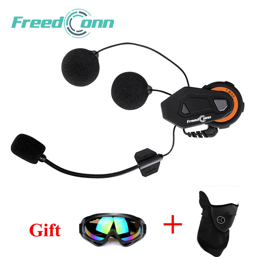 Freedconn Motorcycle Helmet Intercom Bluetooth citofono Moto Headset 6 Riders Interphone FM Radio extra Mask + Goggle motorcycle helmet headsets 1000m 2 riders moto bluetooth intercom waterproof fm radio handsfree motorbiker interphone soft mic