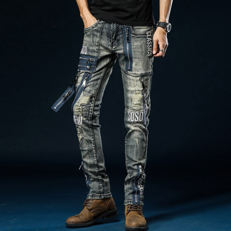Multi Zipper Jeans Men Biker Punk Rock Denim Trouser Men Slim Fit Denim Rip Biker Jeans Mens Embroidery Motorcycle Jeans Men
