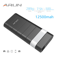 ARUN Original 12500mah Business Design External Battery Portable Mobile Phone Power Bank Fast Charging For Phones
