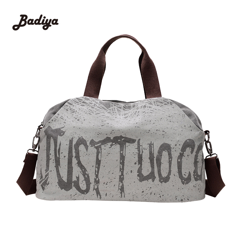 Canvas Women Travel Bags Vintage Carry On Luggage Womens Duffel Bag Tote Large Capacity Las Letter Print
