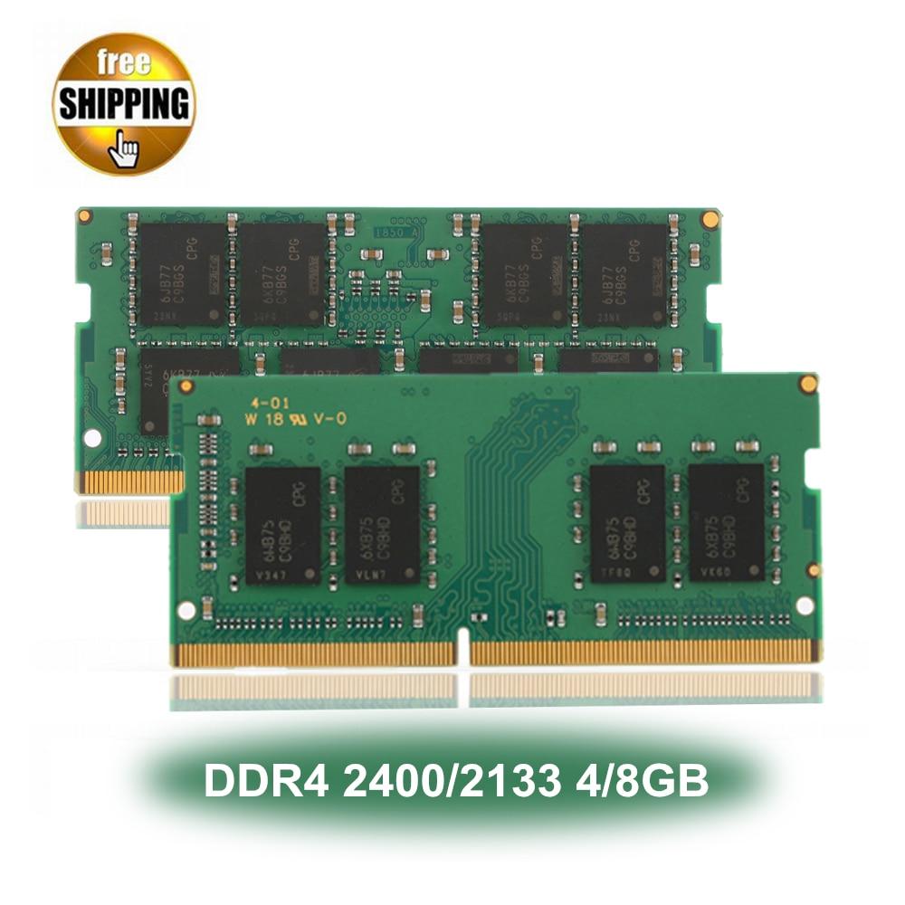 Ordinateur portable Sodimm DDR 4 DDR4 2400/2133 MHz 4/8 GB PC4-19200/17000 LC17 1.2 V 260 -PIN Module de Mémoire Ram NON-ECC Pour Lap top/Portable