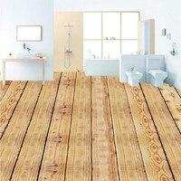 Free Shipping Custom High quality wood board floor stickers living room bedroom bathroom Self adhesive flooring mural wallpaper