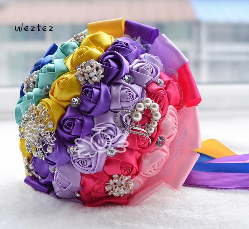 Colorful mixed colors Artificial Flower Pearl Ribbon Bouquet Romantic Wedding Bridal Bridesmaid Holding Flowers Decoration  D381(China)