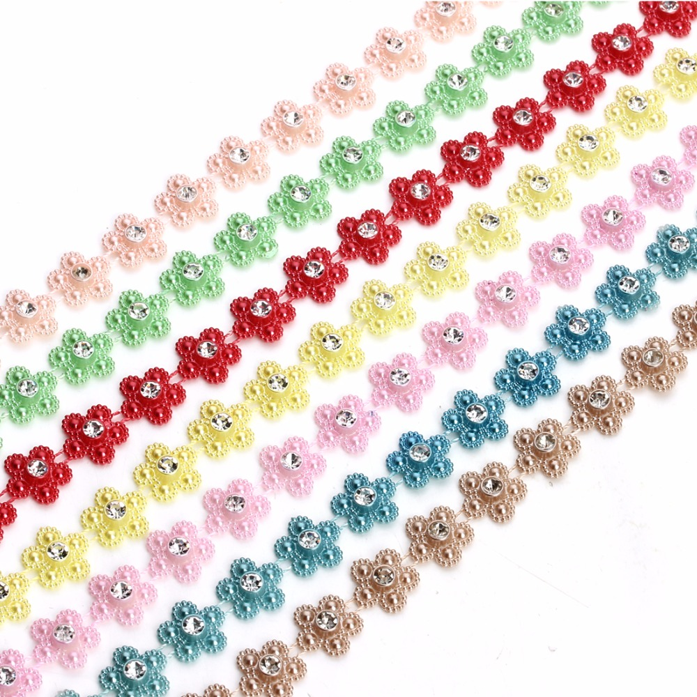 2 Yard/roll 14mm Flat Back Colored String Pearl Beads Chain for Wedding Party Decoration Products DIY Jewelry Making Findings
