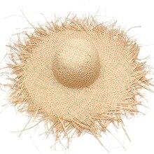 Новинка, ручная работа, Женские соломенные шляпы от солнца с большими широкими полями для девочек, высокое качество, натуральная рафия, Панама, пляжные соломенные кепки для отдыха