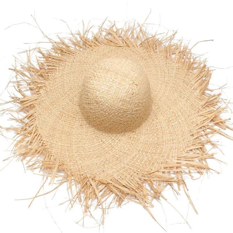2018 NEW Handmade Women Straw Sun Hats Large Wide Brim Gilrs High Quality Natural Raffia Panama Beach Straw Sun Caps For Holiday