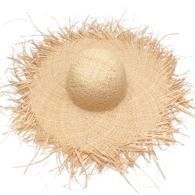 Новые женские соломенные шляпы ручной работы с широкими полями для девочек, высокое качество, натуральные соломенные Панамы, пляжные солом...
