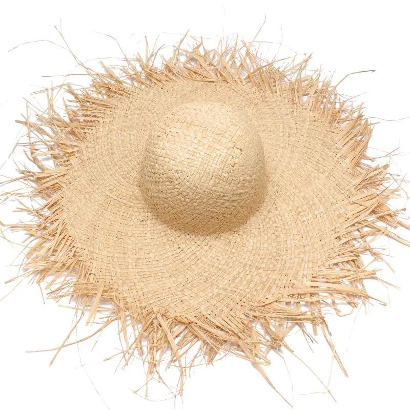 NEW Handmade Women Straw Sun Hats Large Wide Brim Gilrs High Quality Natural Raffia Panama Beach Straw Sun Caps For Holiday