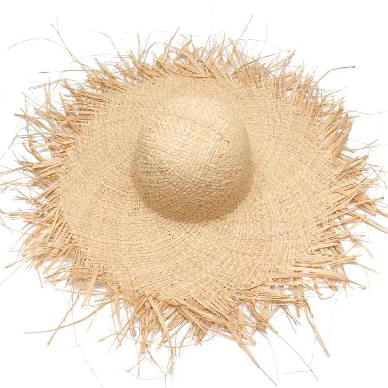 Nuevos sombreros de paja para el sol hechos a mano para mujeres de ala ancha Gilrs de alta calidad rafia natural Panamá playa sombreros de paja para el sol para vacaciones