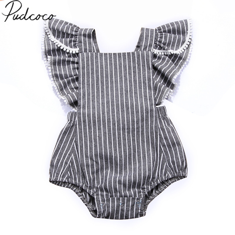 2018 Brand New Ruffles Newborn Baby Girl Summer Sleeveless Backless Striped   Romper   Jumpsuit Outfit Princess Kids Party Clothes