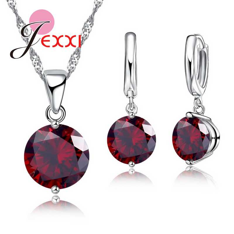 Trendy 8 Colors Cubic Zirconia 925 Sterling Silver Drop Earrings Necklace Set Women Wholesale Statement Jewelry Sets Gifts