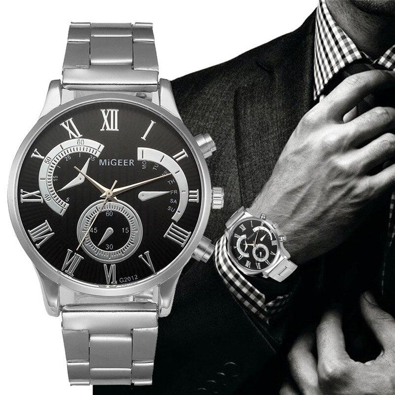 Brand Watch Men Crystal Stainless Steel Analog Sport Military Quartz Wrist Watch Bracelet Clock Male Hour Relogio Masculino stylish 8 led blue light digit stainless steel bracelet wrist watch black 1 cr2016