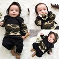 The new 2017 autumn baby boys and girls clothes cap camouflage pants suit clothes cute newborn baby girl clothing