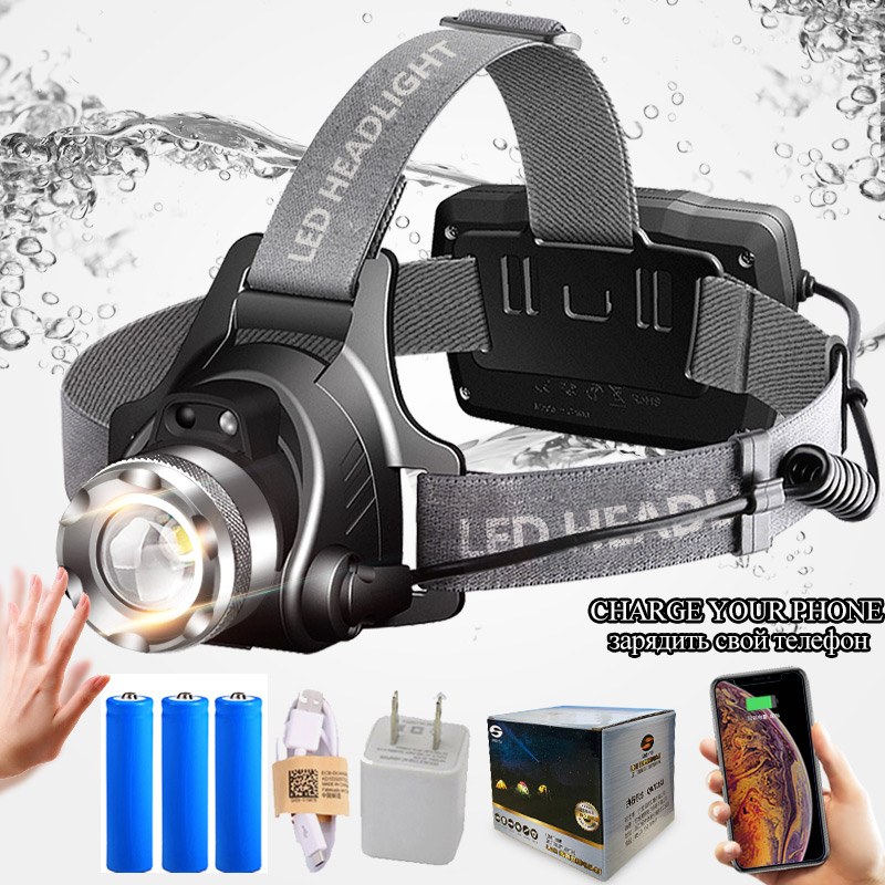 SHENYU capteur infrarouge LED phare Rechargeable Zoomable Rotation lumière tête torche Cree XML-T6 L2 phare randonnée Camping
