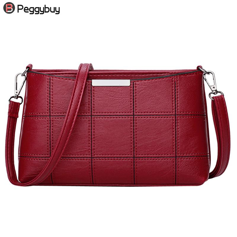 Fashionable Women Handbag PU Leather Plaid Messenger Bag Autumn Women Crossbody Shoulder Bags Brand Female Top Handle Handbag autumn new pu leather women bag female