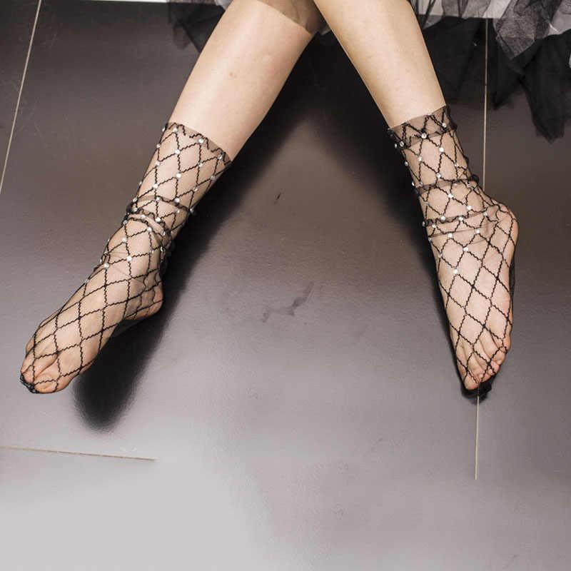 여성 섹시한 얇은 반짝 이는 라인 석 아가일 수제 메쉬 양말 크리 에이 티브 투명한 양말 일본 하라주쿠 여성 양말 (블랙)