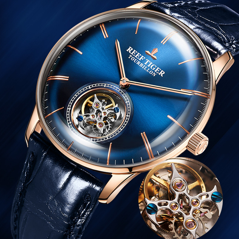 Reef Tiger Brand Fashion Mechanical Waterproof Tourbillon Watch Men Business Blue Leather Automatic Watches reloj hombre RGA1930Reef Tiger Brand Fashion Mechanical Waterproof Tourbillon Watch Men Business Blue Leather Automatic Watches reloj hombre RGA1930