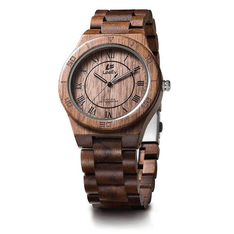 LeeEv EV1918 Mens Natural Walnut Wood Watch Analog Quartz Light Weight Vintage Wooden Wrist Watch leeev ev1908 mens natural walnut wood watch analog quartz light weight vintage wooden wrist watch