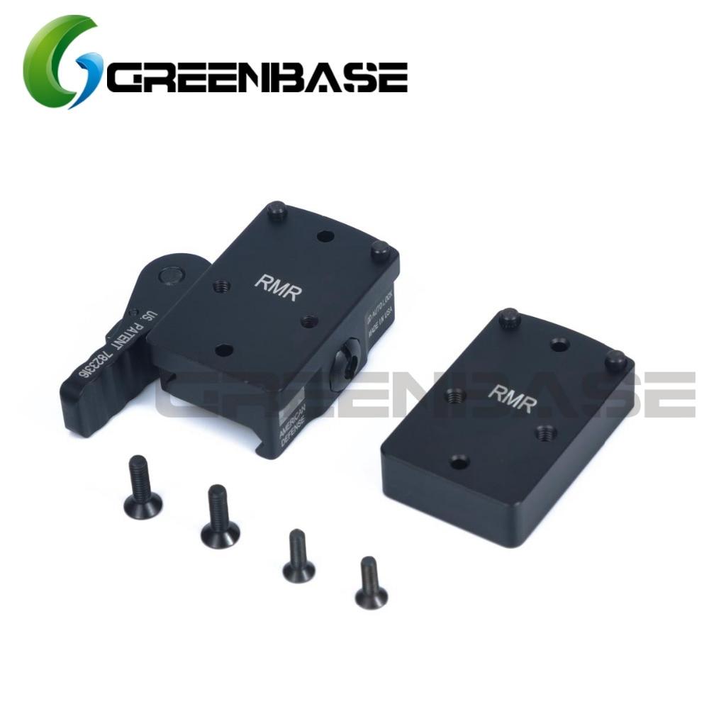 Greenbase RMR Mini Riser Mount Full Co-Witness Red Dot Sight Scope Mount With QD Quick Detach Auto Lock Picatinny Rail Base