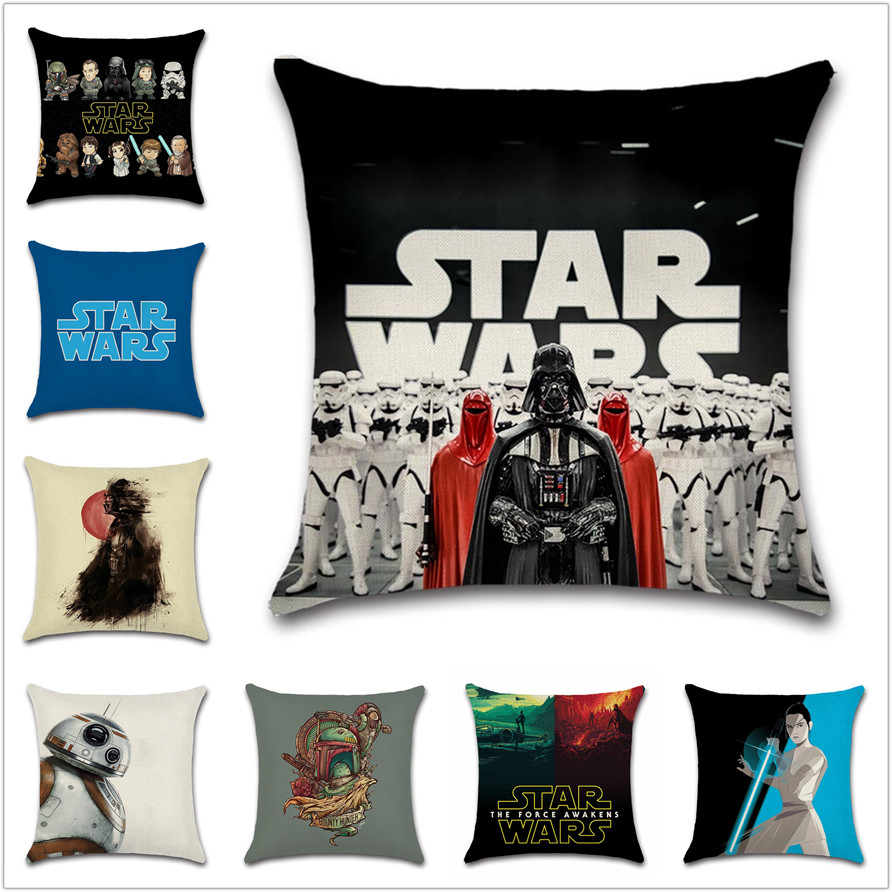 Wars Soldier Sign Portrait Star Cushion Cover Cartoon Pillow Case Sofa Chair Decorative For Home Kids Boy Bedroom Friend Gift